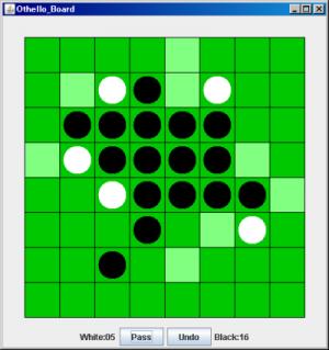 オセロプログラムの実行画面