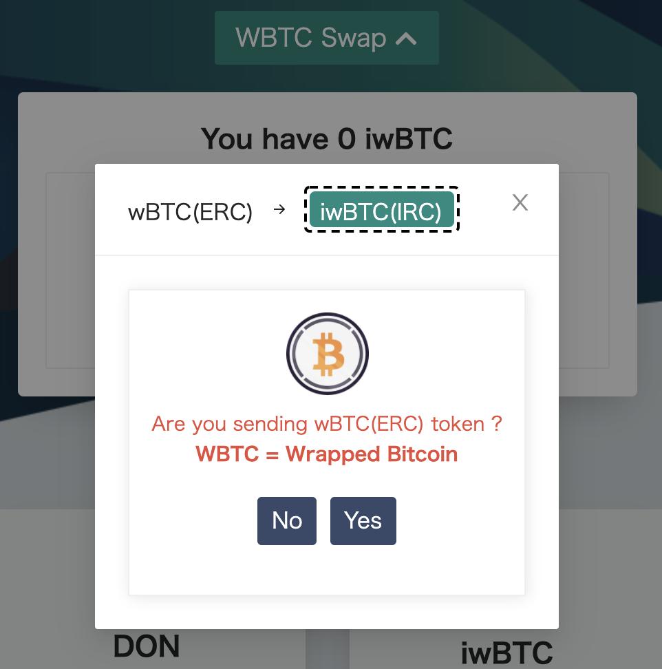 donnie_finance_caution_popup_wbtc_swap